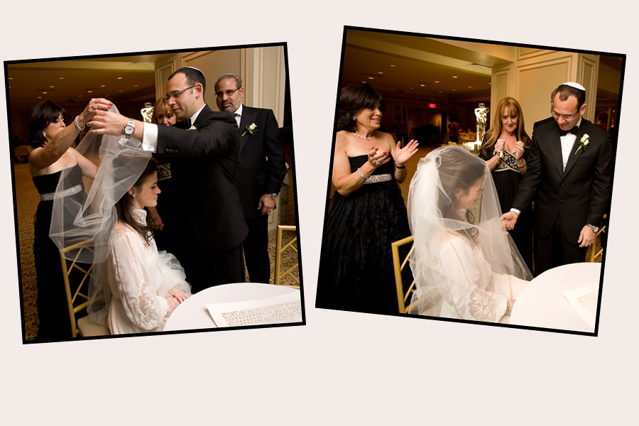 Bedeken - the Bride is veiled at temple beth sholom roslyn