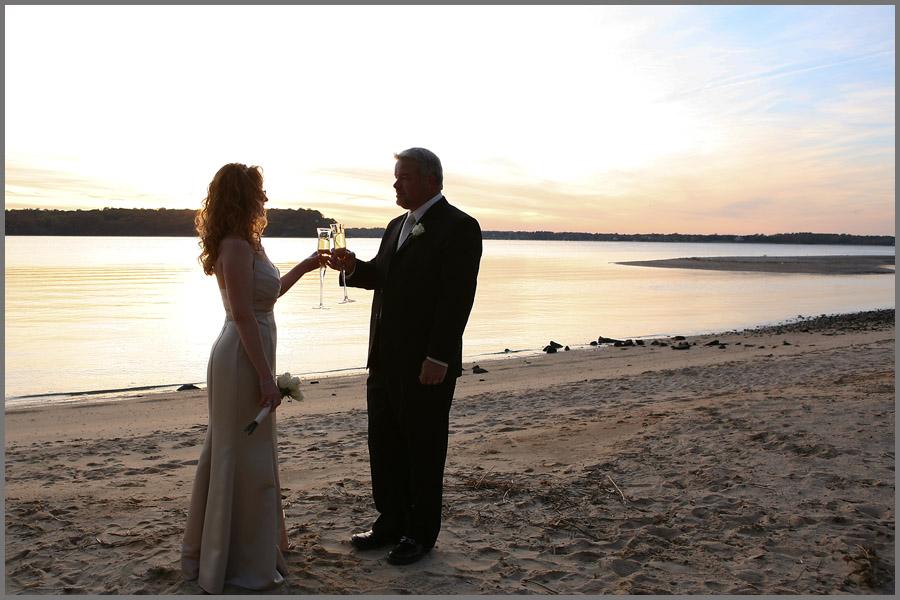 sunset wedding on a long island beach