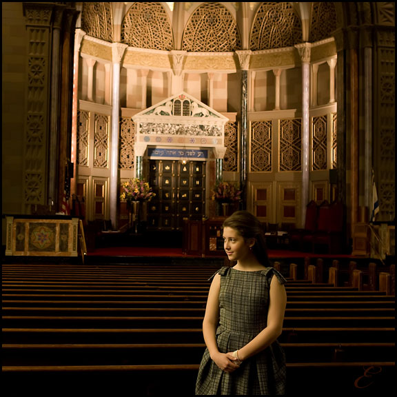 formal bat mitzvah portrait in the Sanctuary at Rodeph Sholom nyc