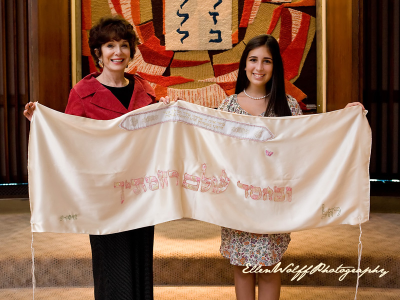 interesting bat mitzvah photo - hand stitched tallit