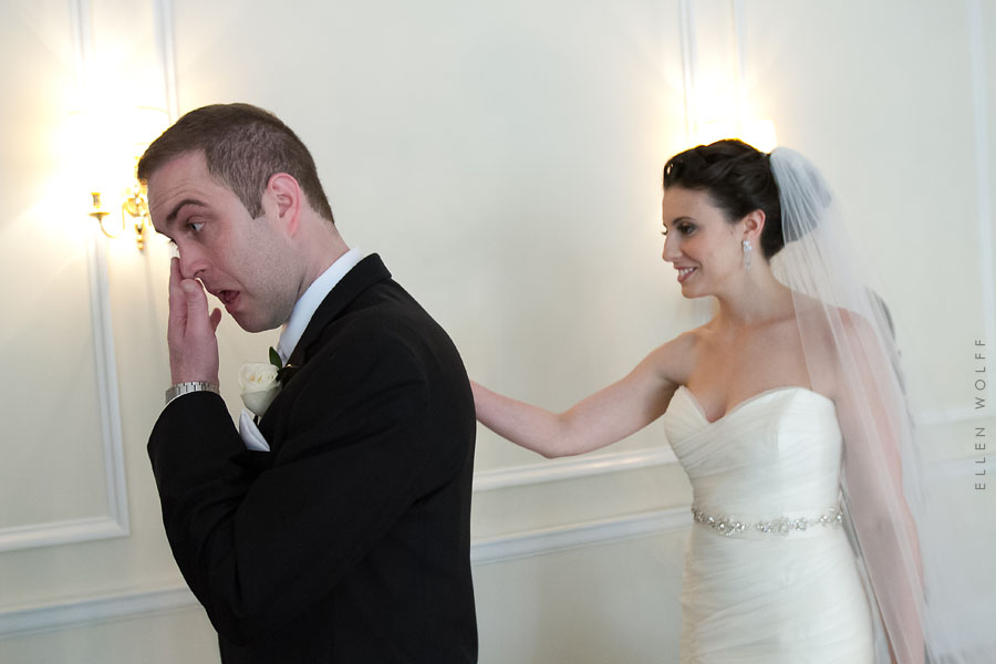an emotional groom at muttontown country club wedding photo