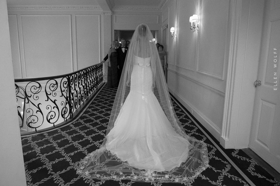 back of the wedding gown with an embellished cathedral veil