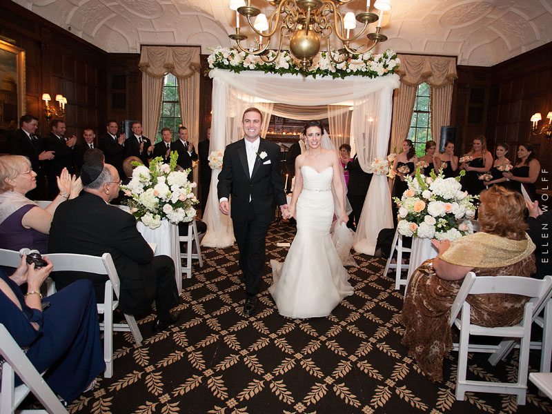 floral and fabric wedding chuppah at muttontown cc