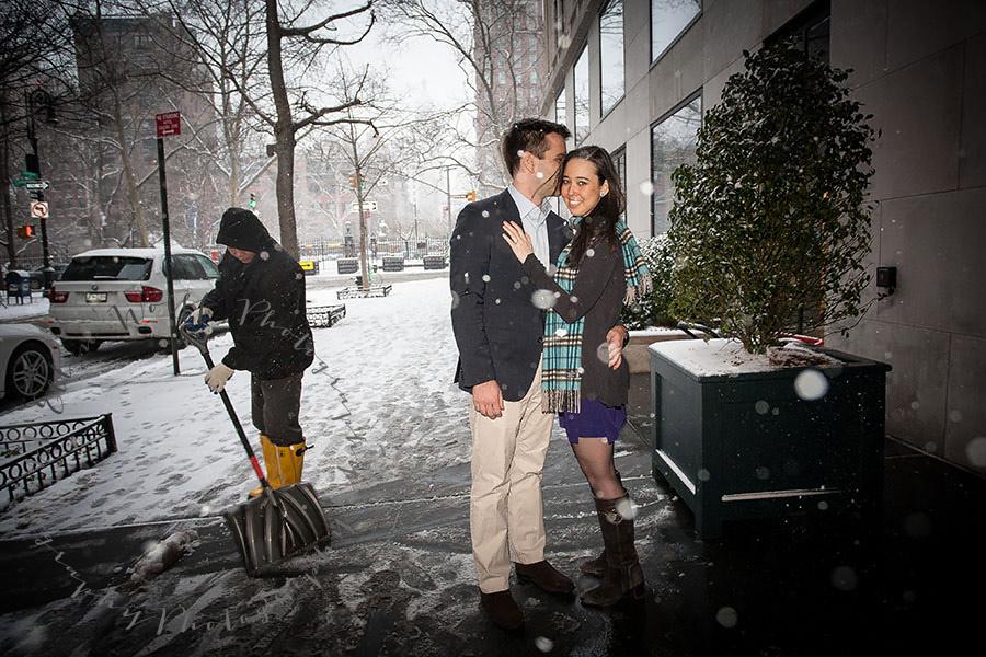 winter engagement photo outside the gramercy-hotel-nyc-ellenwolffphoto