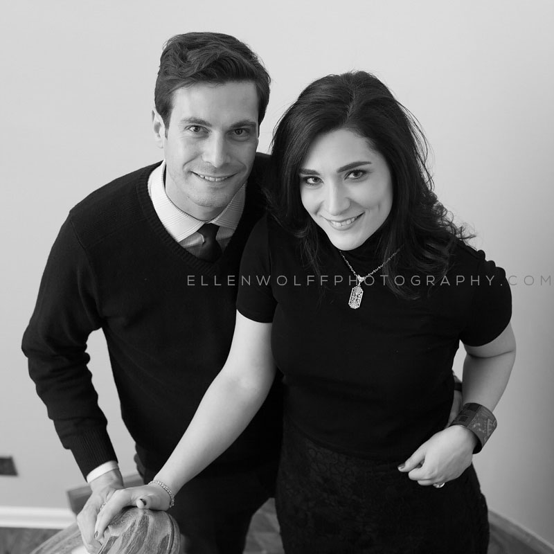black and white posed engagement portrait