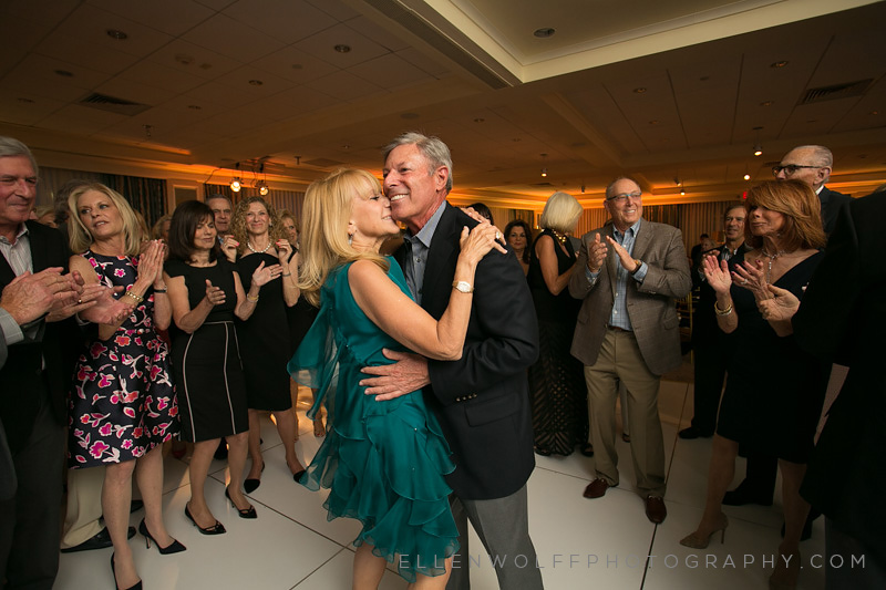 candid dance floor photo at fresh meadow wedding anniversary party