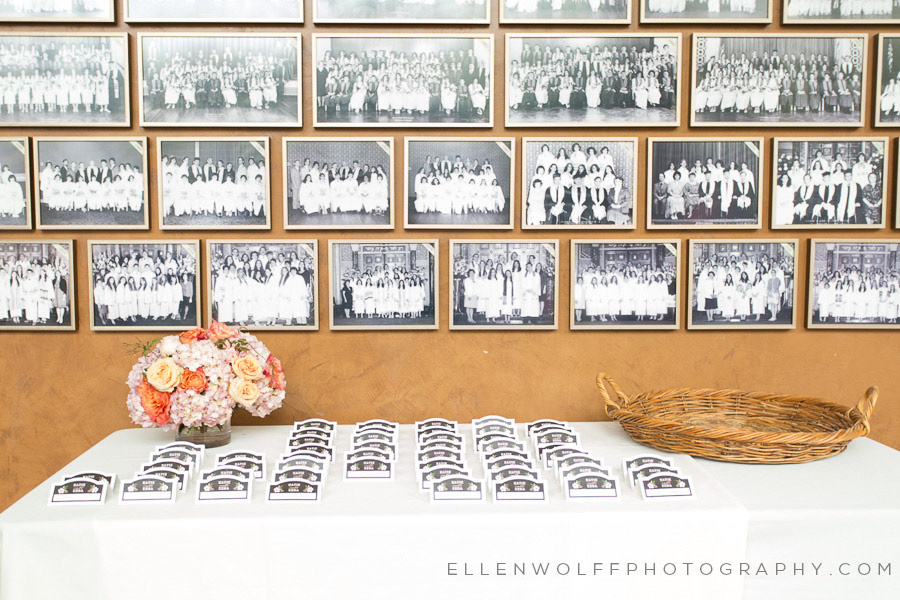 place cards set up in front of an archive class photos