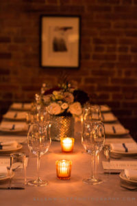 table setting for wedding rehearsal dinner at gelso and grand