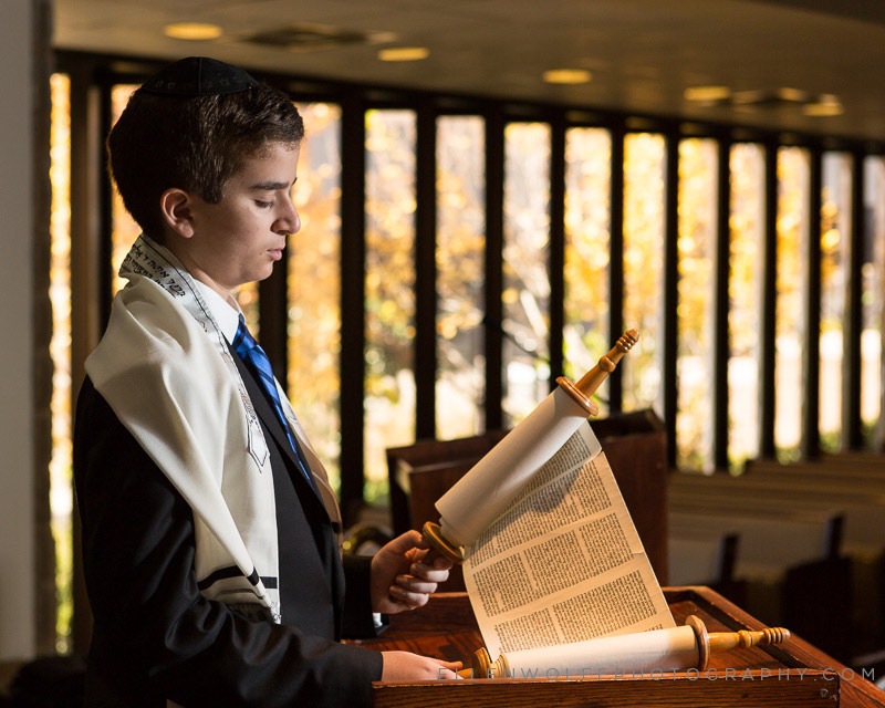 bar mitzvah with mock torah scroll