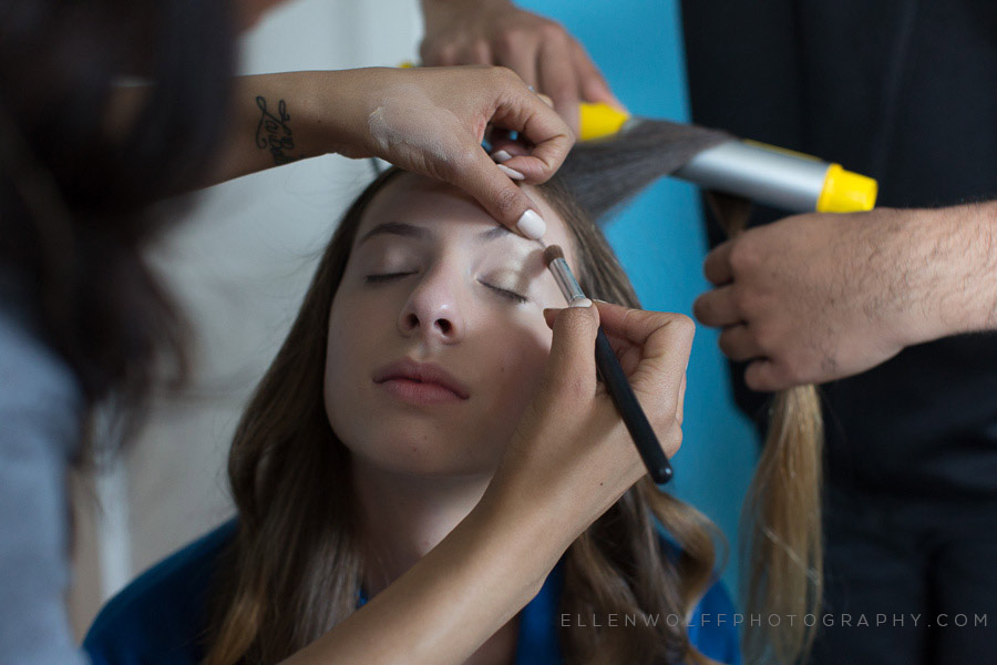 photo of bat mitzvah girl getting ready with home make up service
