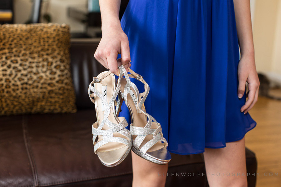 sparkly silver high heels