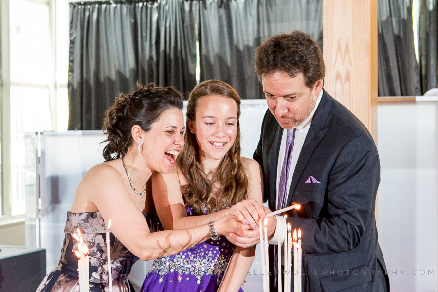 bat mitzvah candle lighting ceremony with parents