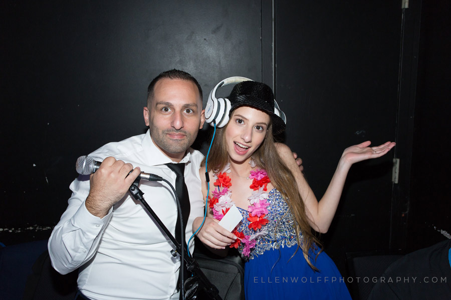 fun bat mitzvah photo inside the dj booth at copacabana times quare