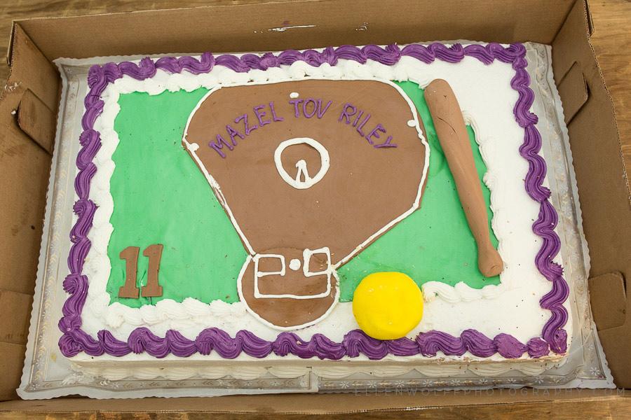 softball field bat mitzvah cake