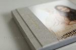 linen bat mitzvah album with gold imprinting