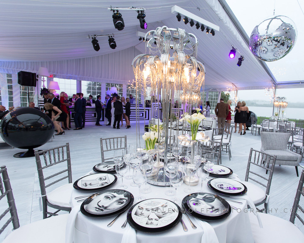 black and white party tent interior