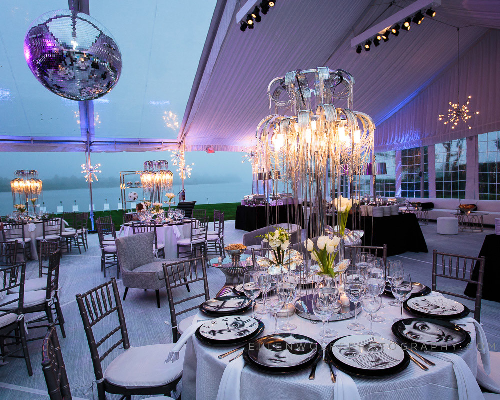 lavish party tent with fornasetti plates
