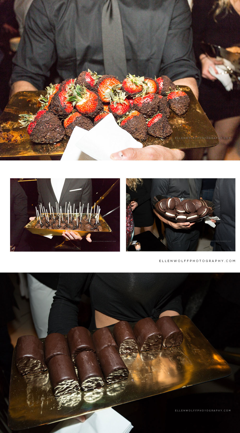 chocolate covered desserts served by cosutmed servers